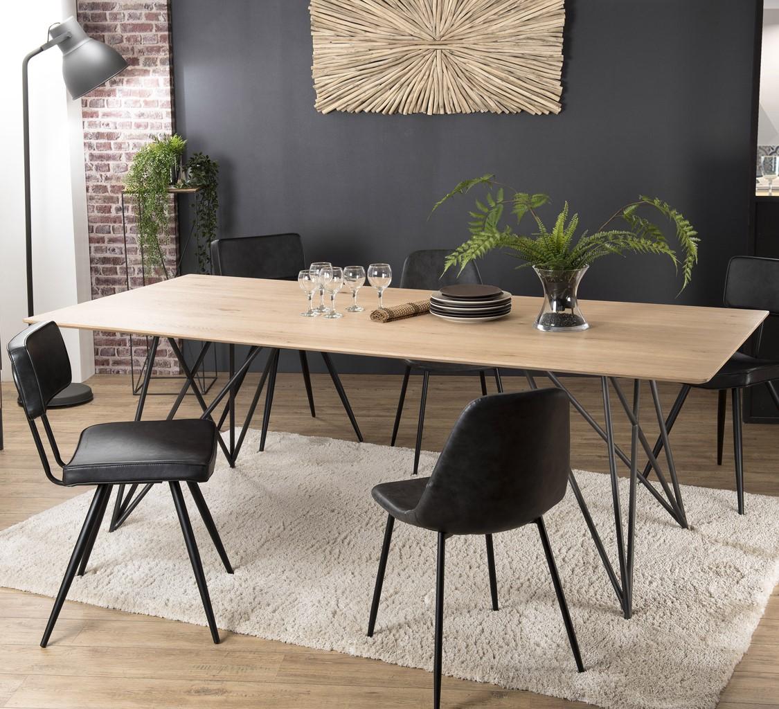 table a manger bois de chene pieds epingle 220x100 panama