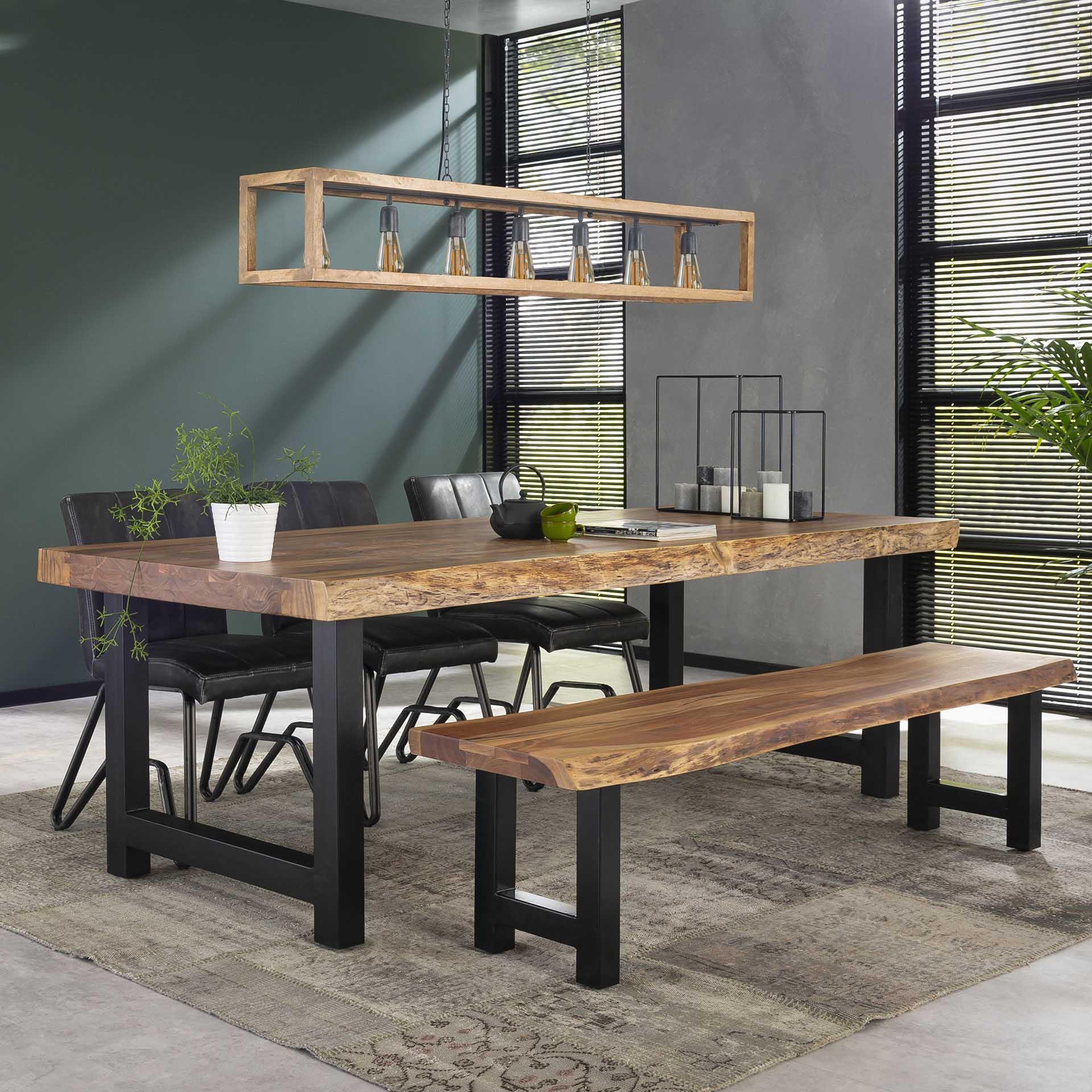 table a manger bois massif metal 240 cm melbourne