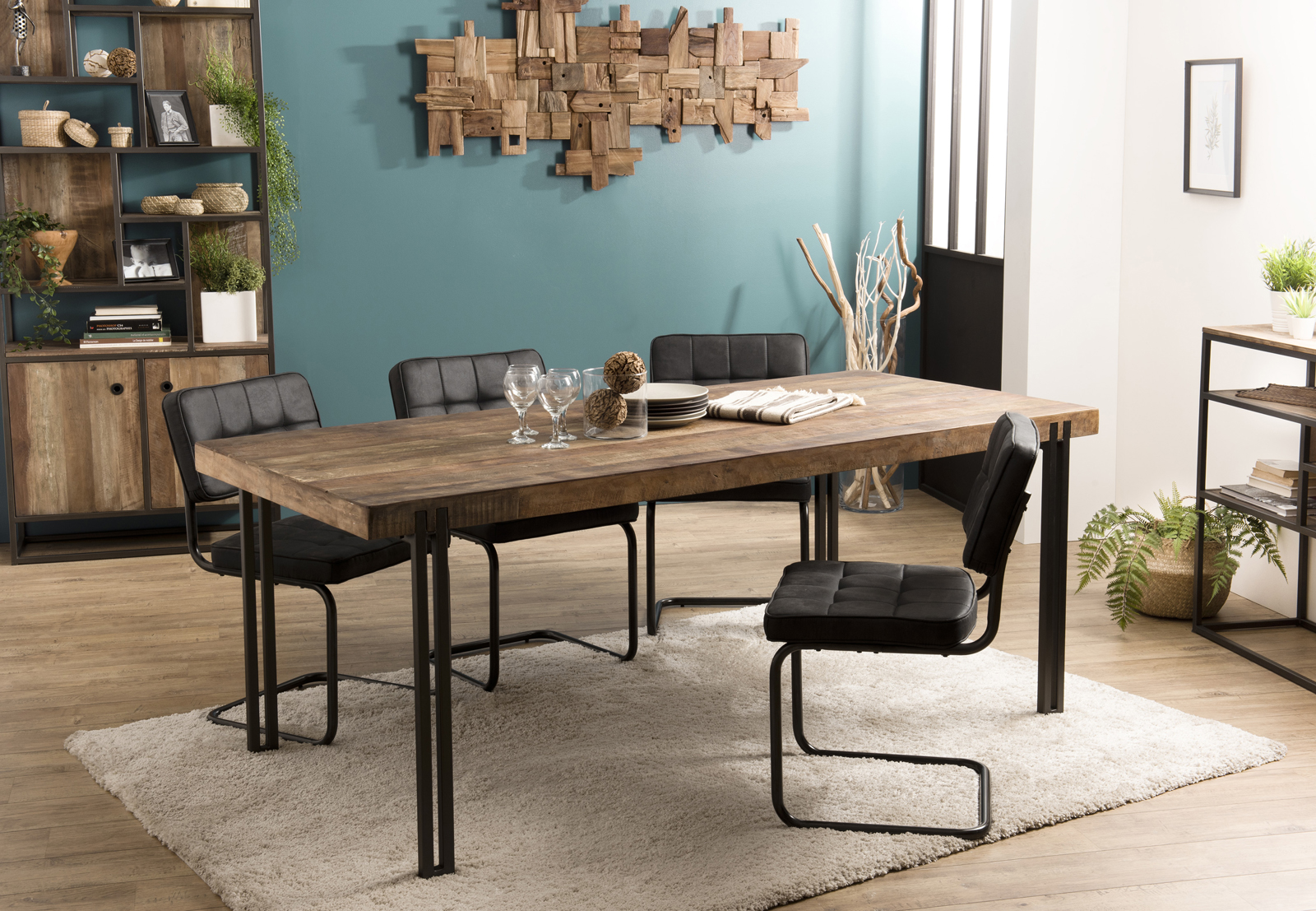 table a manger industrielle teck recycle 200x90 swing