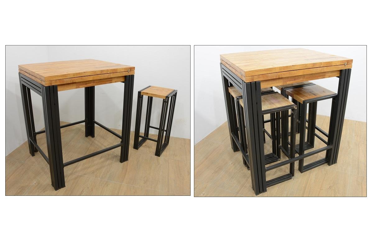 table bar mange debout rectangle extensible hevea recycle naturel et metal noirci 90 180x80x105cm docker