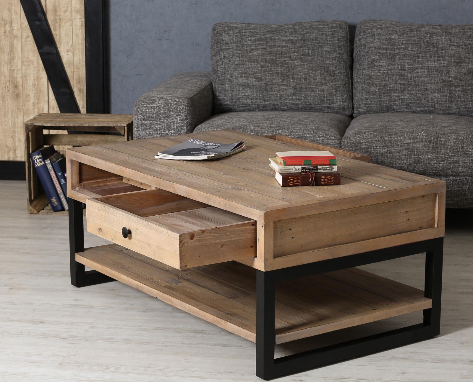 table basse avec rangement en bois recycle auckland