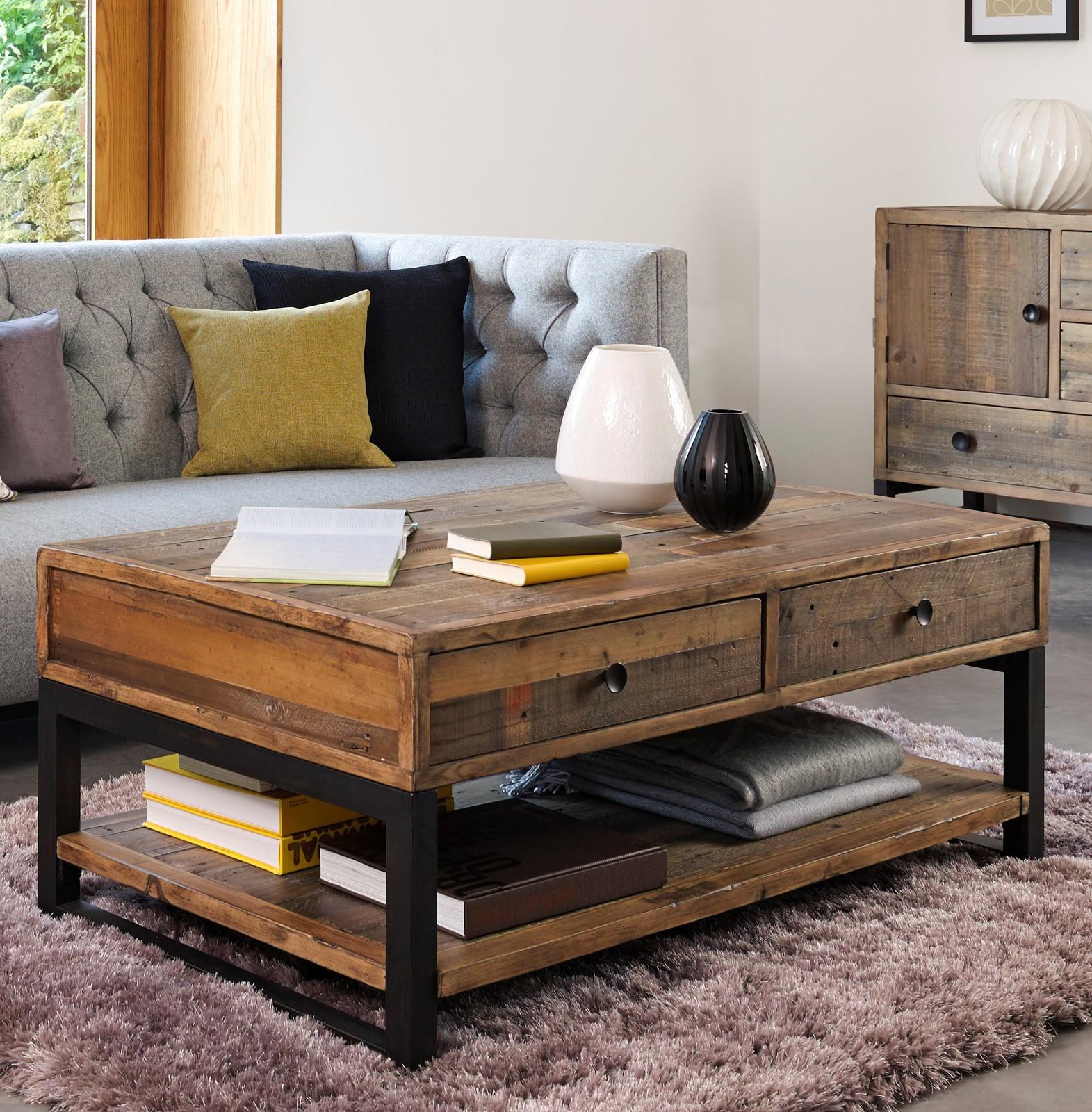 table basse bois recycle double plateau