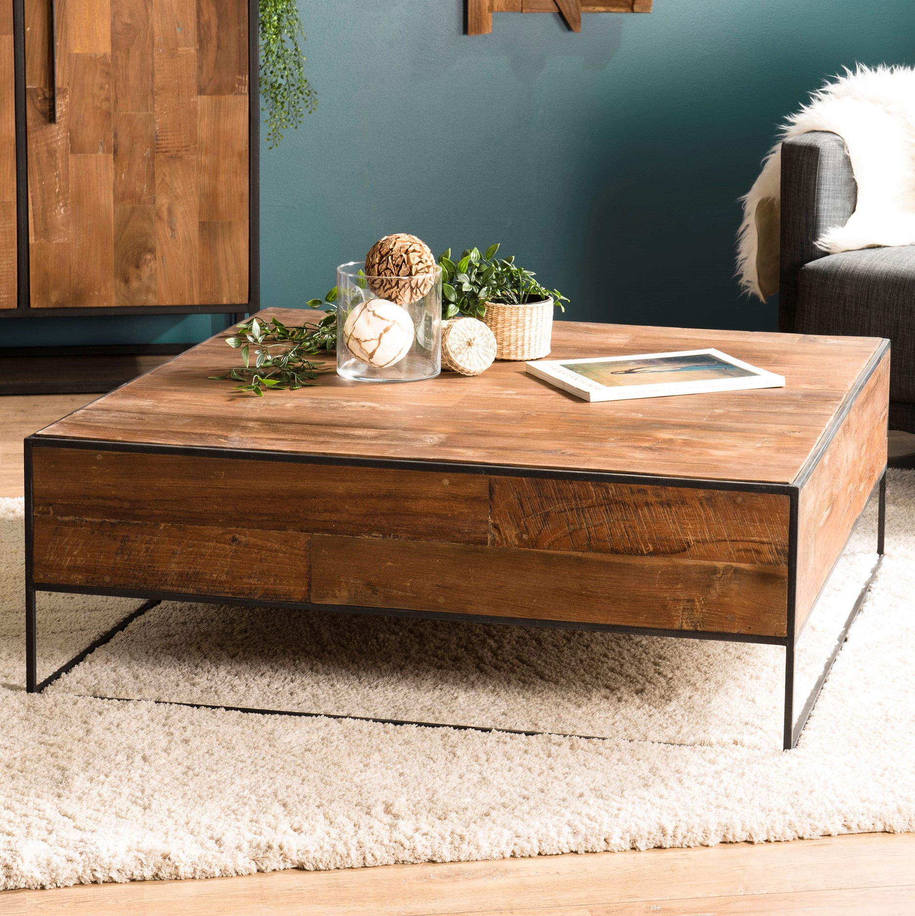table basse carree style atelier swing