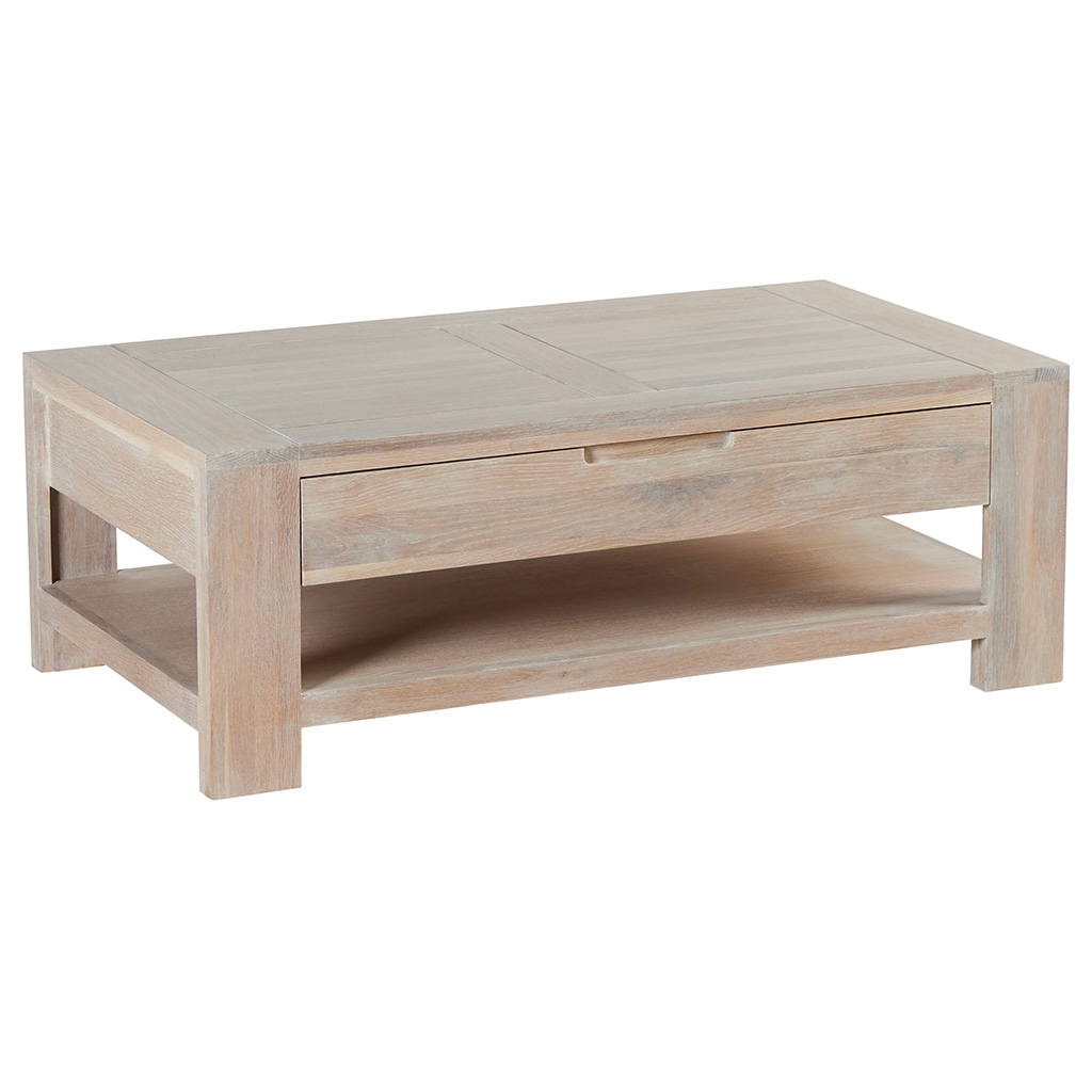 table basse chene massif cire blanchi double plateaux 1 tiroir 110x60x39cm manille