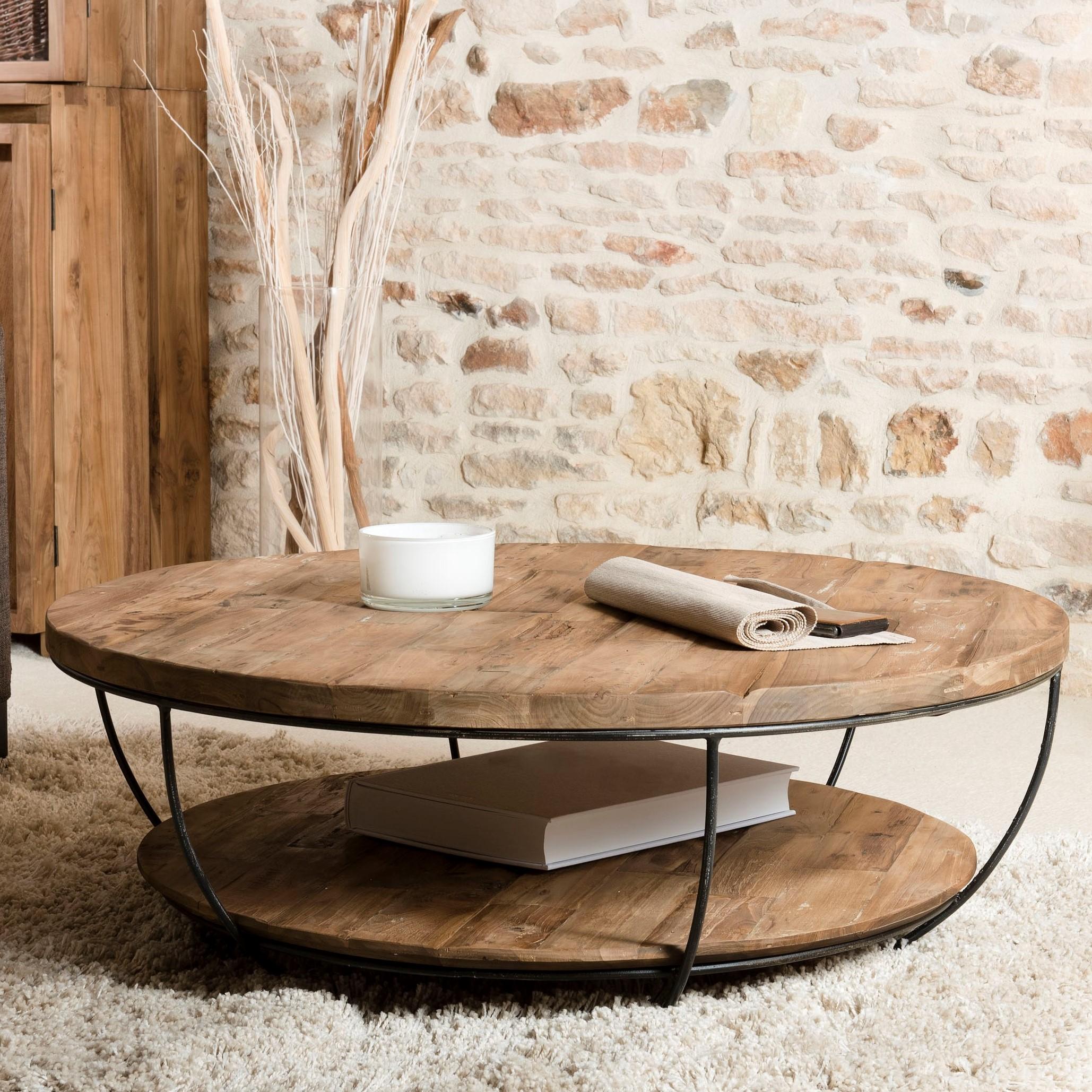 table basse ronde double plateaux en