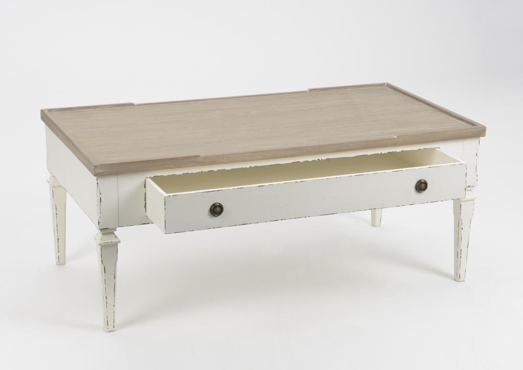 table basse salon bois blanc vieilli 1 tiroir 110 cm gustave l 110 x p 60 x h 45 amadeus