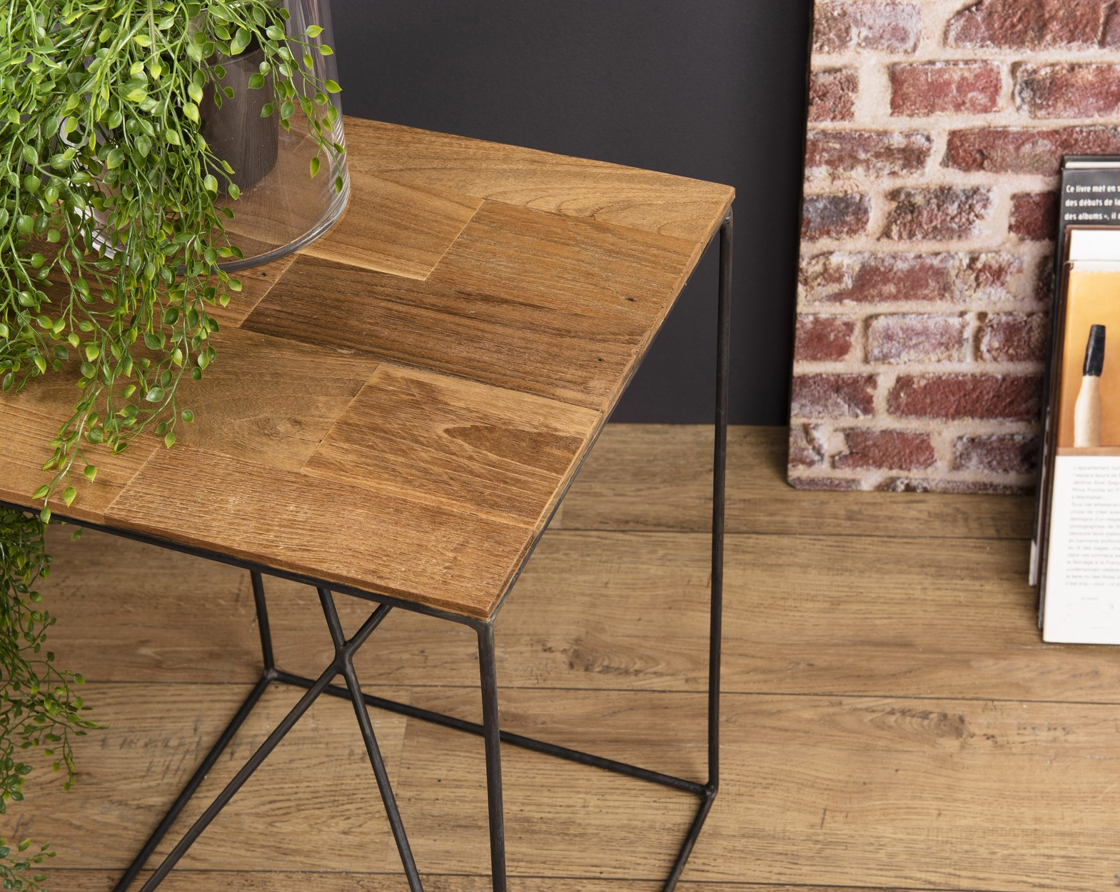 table d appoint industrielle bois recycle panama