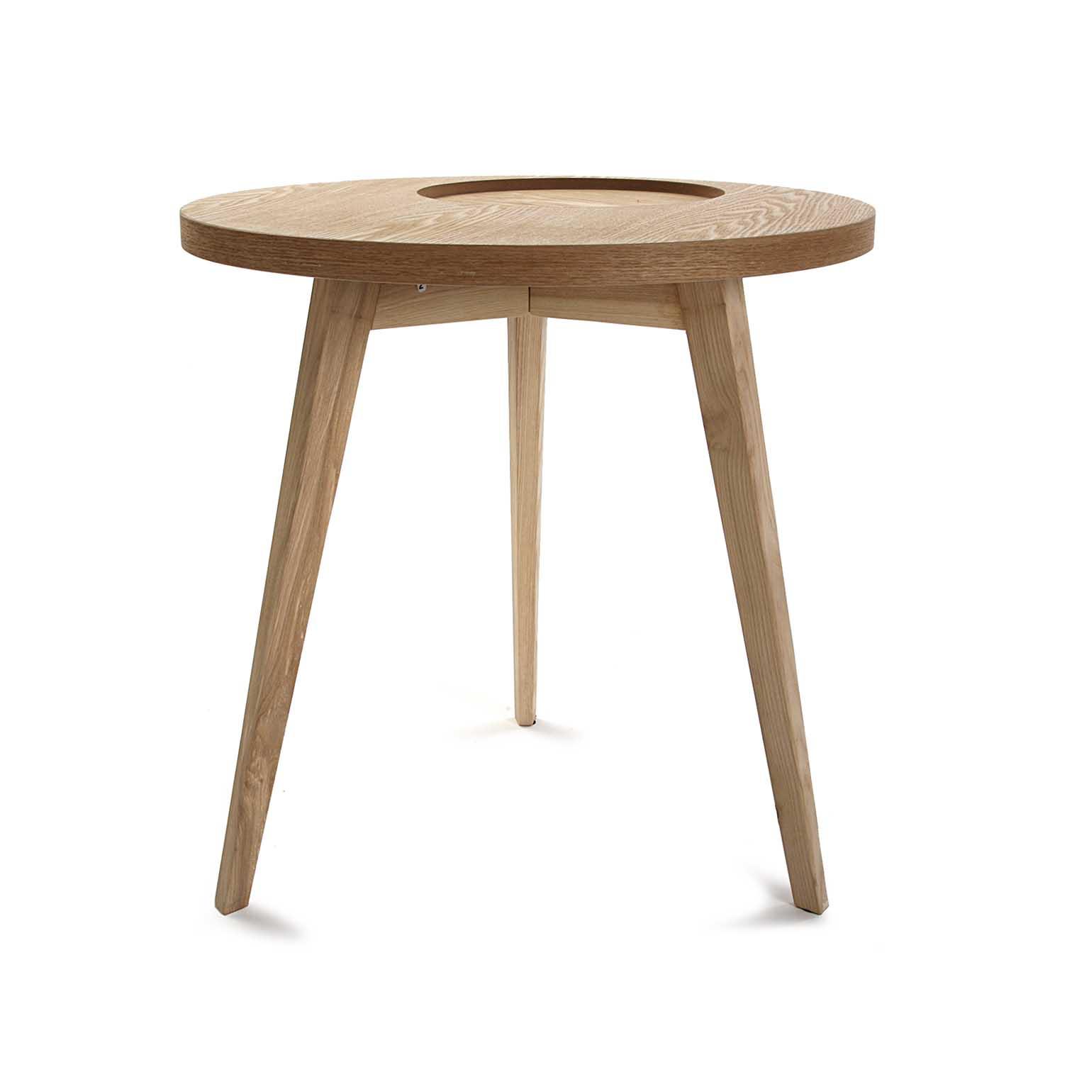 table de chevet bout de canape style scandinave en bois clair evide forme ronde d50xh50cm