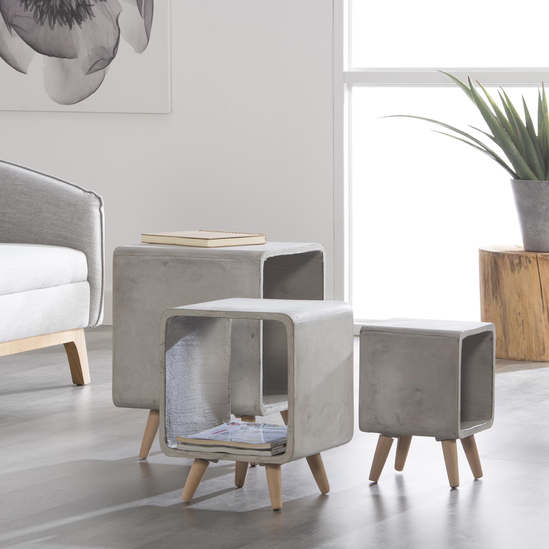 table de chevet contemporaine cube beton mm