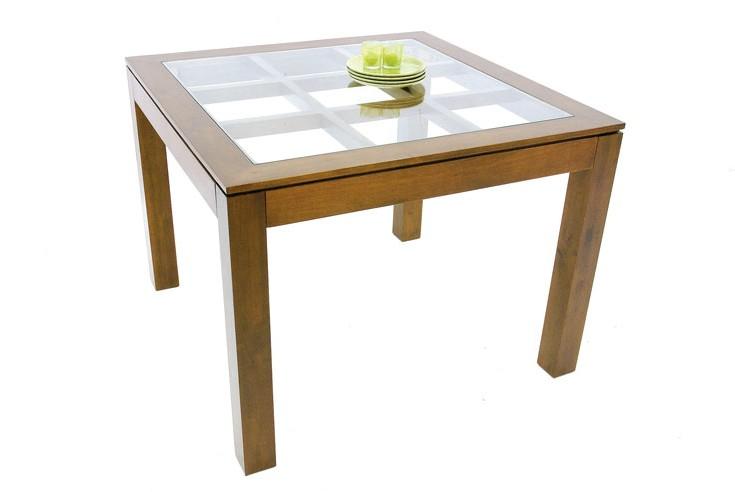 table de repas carree hevea avec plateau verre pose sur quadrillage bois 100x100x76cm helena