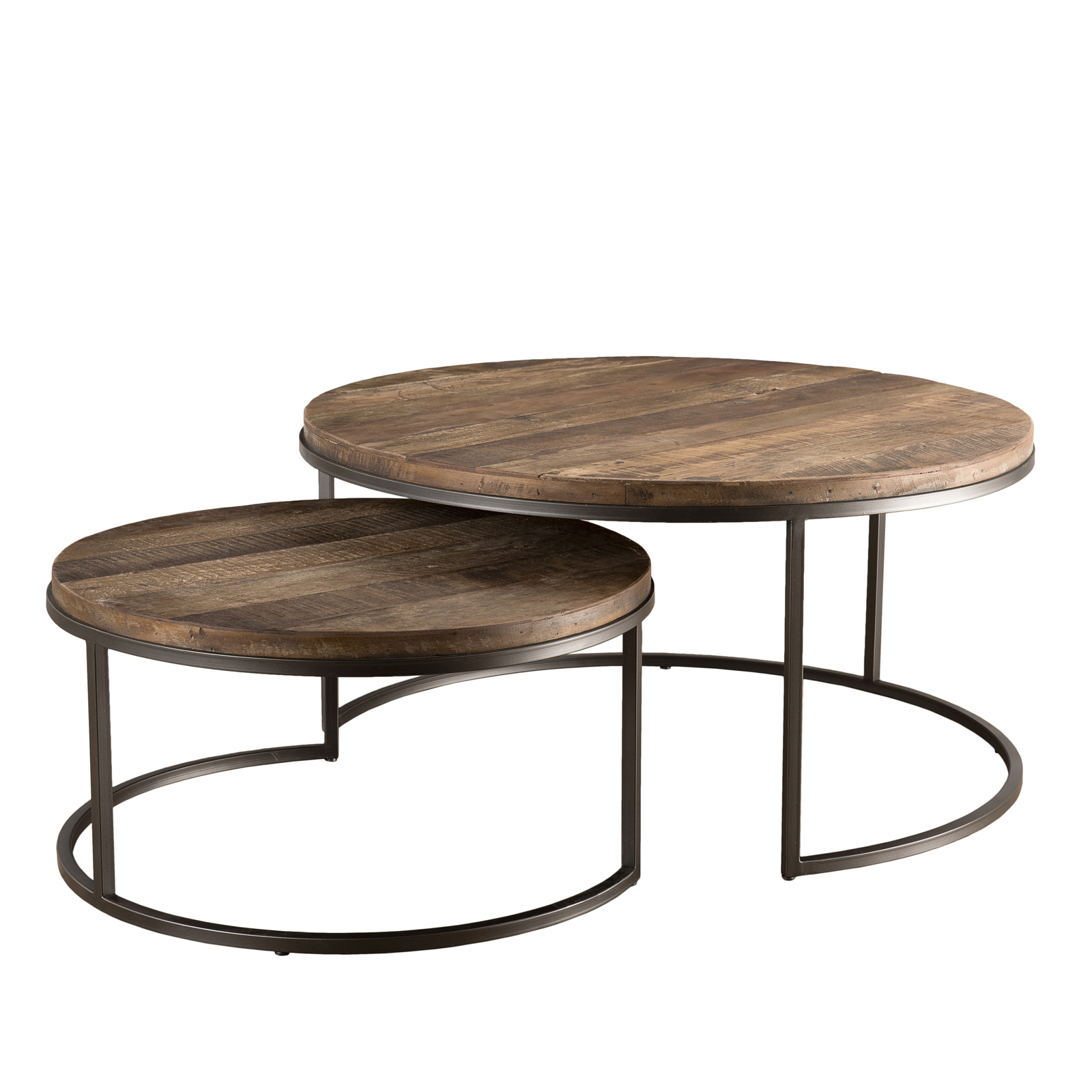 table gigogne ronde teck recycle 2 pieces swing