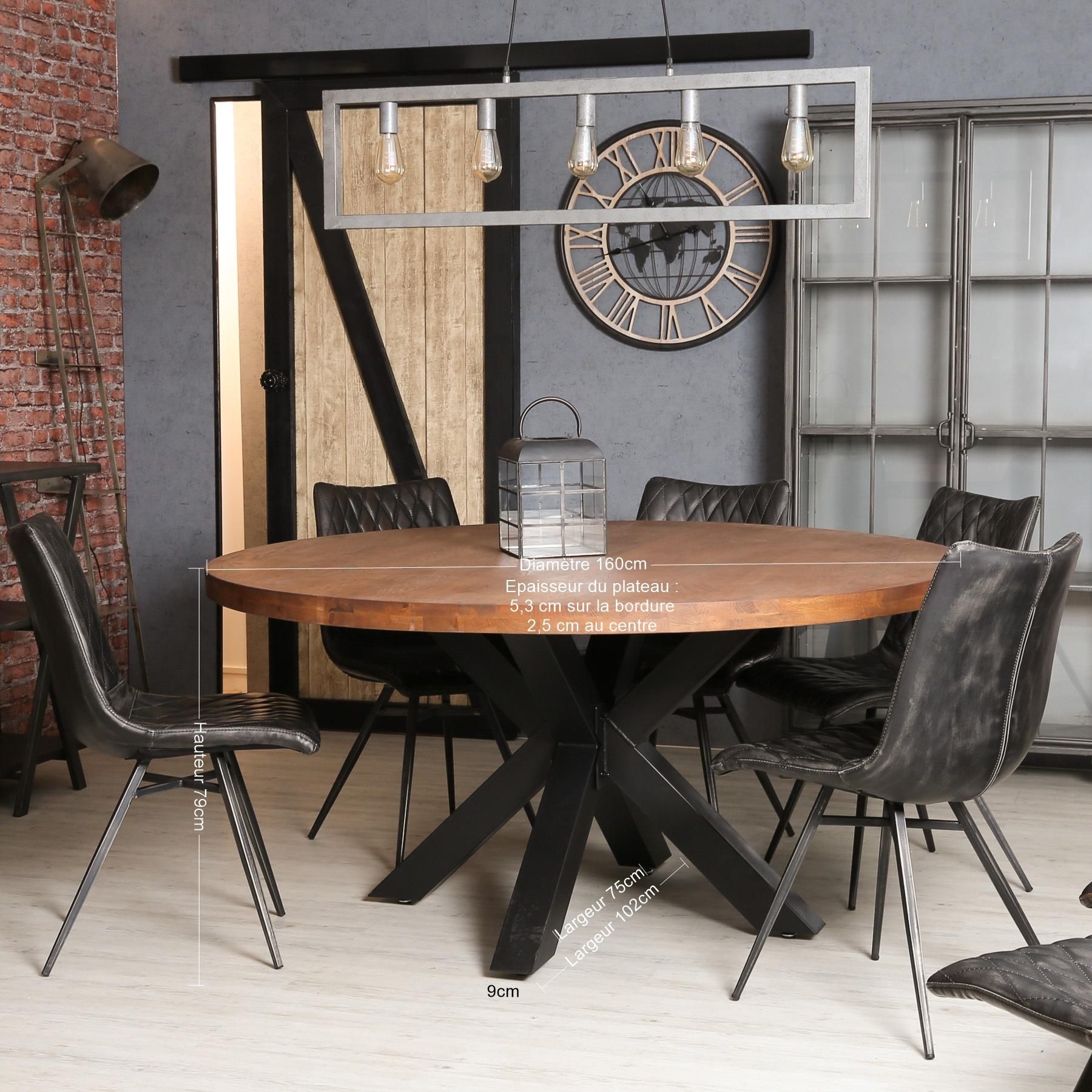 table ronde pied central bois de chene massif d160 cm oka