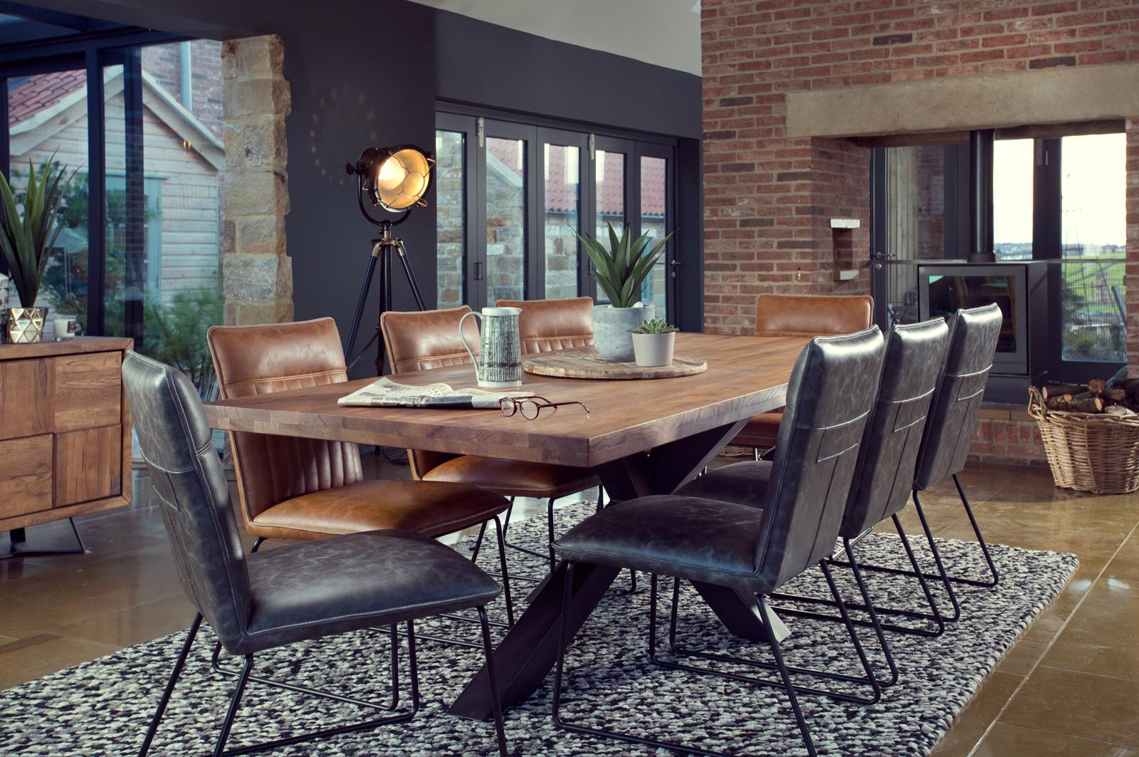 table salle a manger bois metal pied croise 240 cm oka