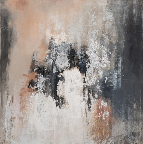 tableau abstrait noir rose et blanc