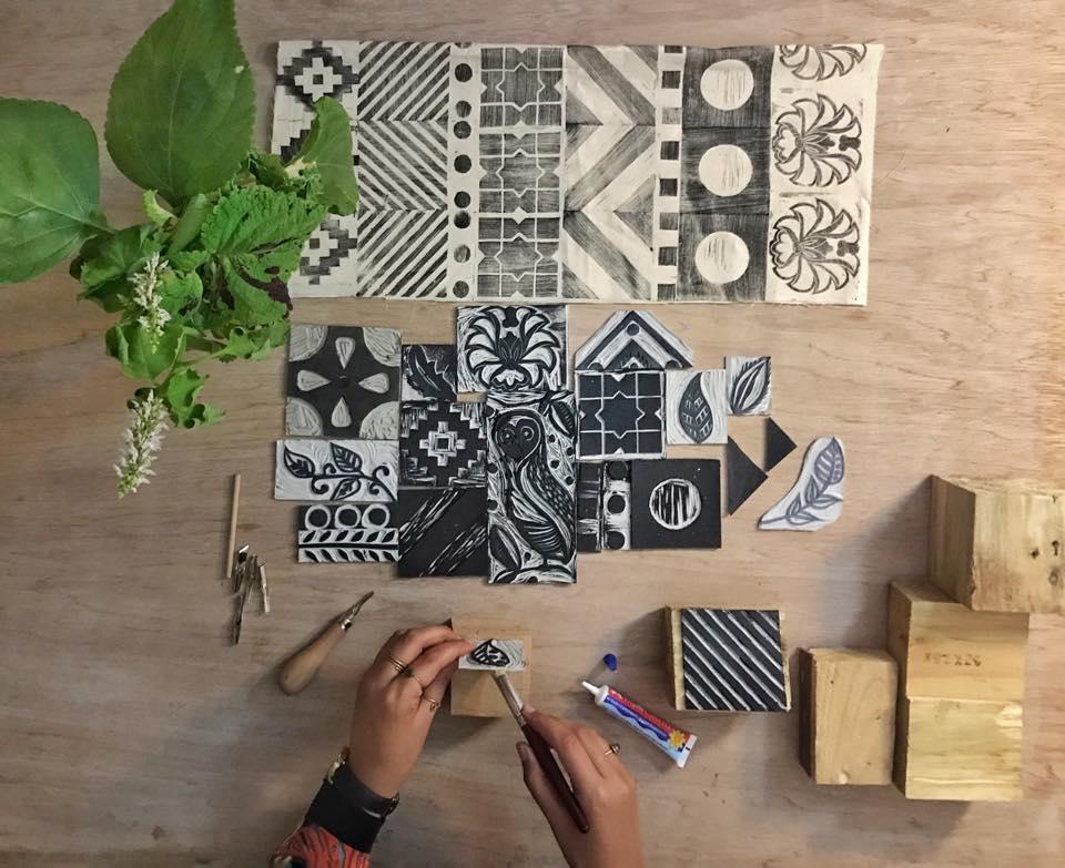 Wood Block Printing On Tote Bags Amman Design Week