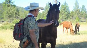 A mighty wild stallion with naturalist William E. Simpson II