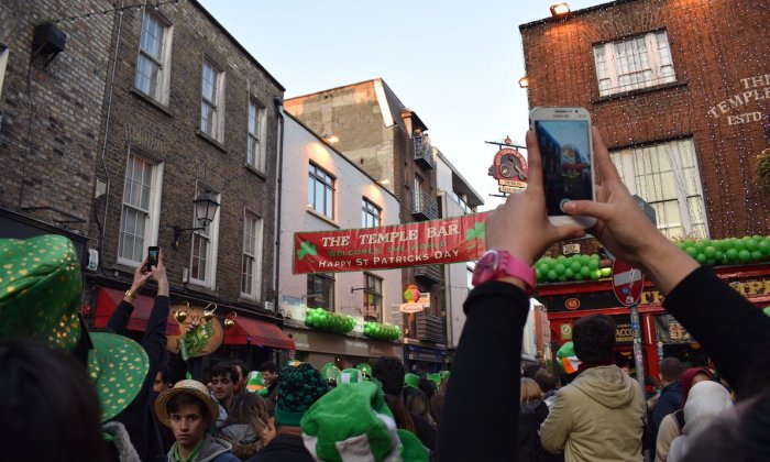 Crowds in Temple Bar for Saint Patrick's Day in Dublin