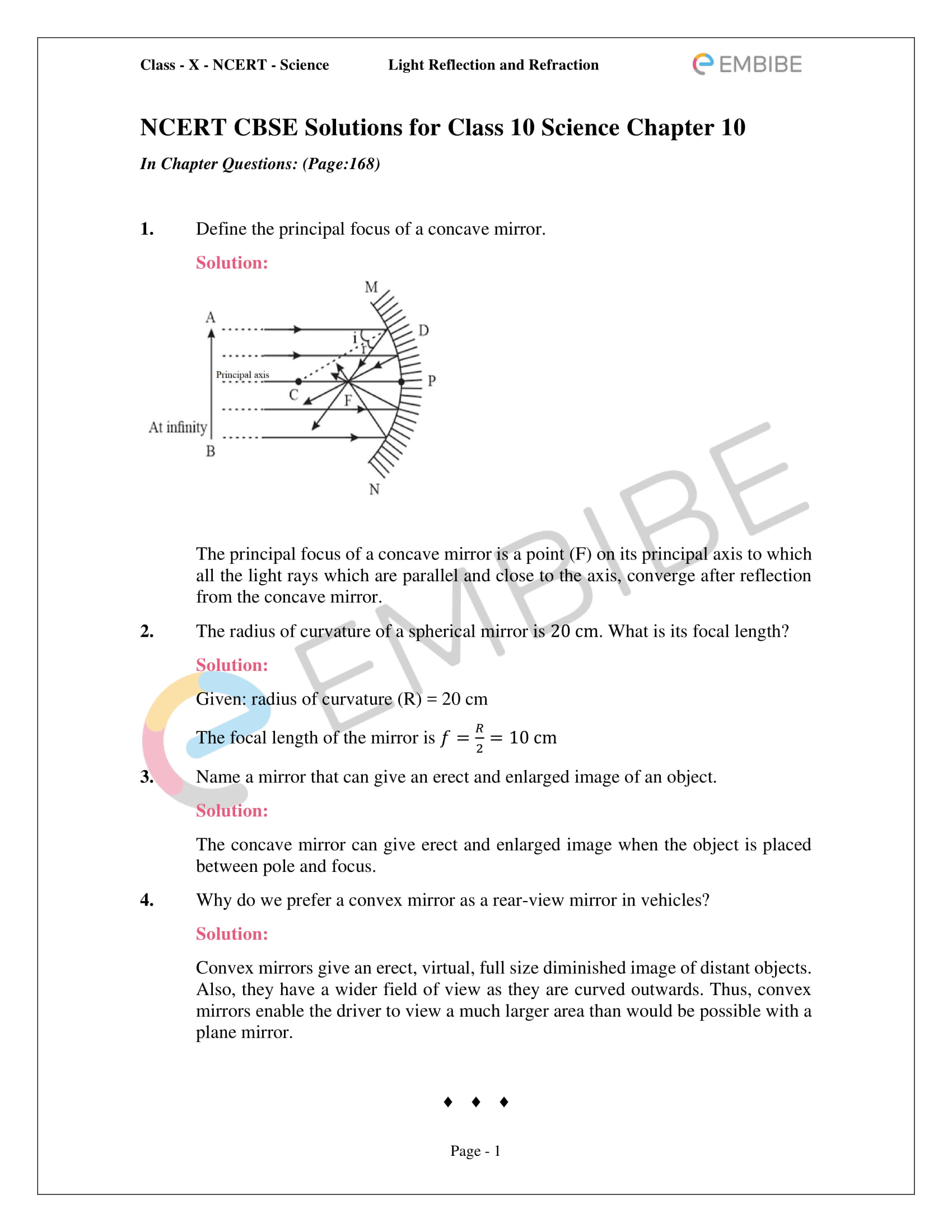 Cbse Ncert Solutions For Class 10 Science Chapter 10