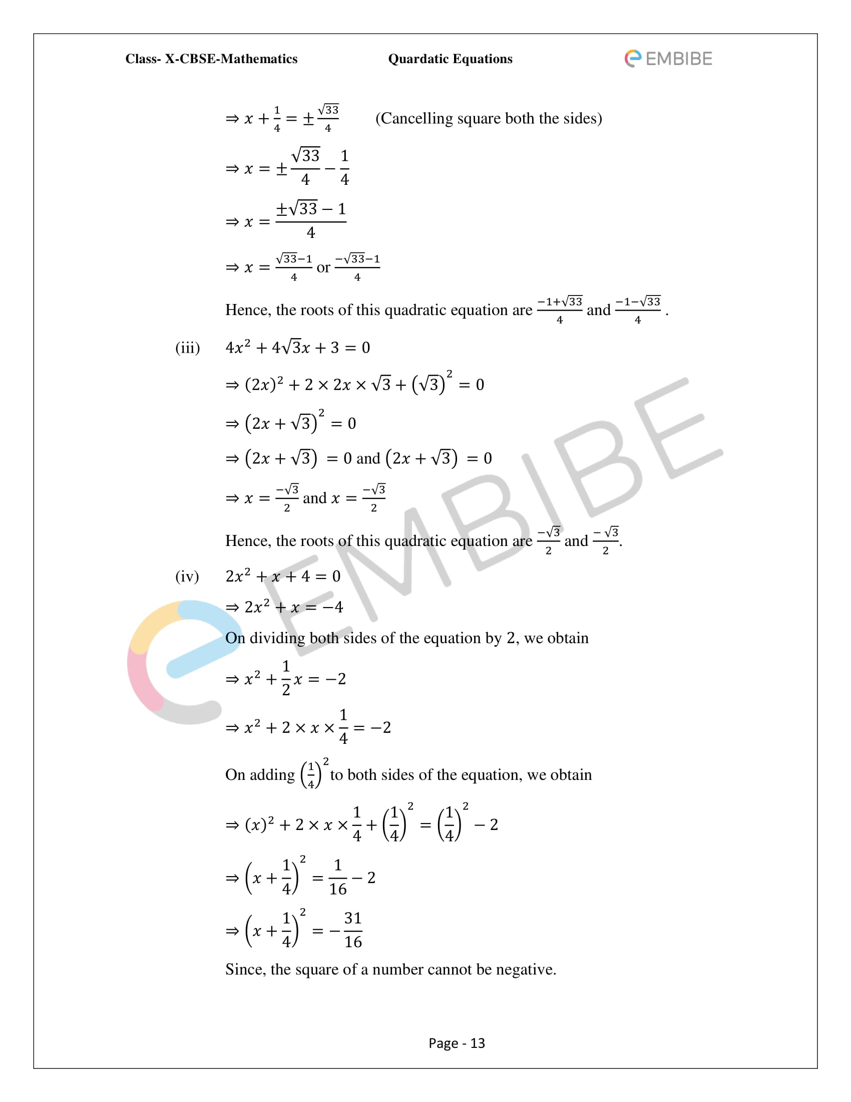 Ncert Solutions For Class 10 Maths Chapter 4 Quadratic