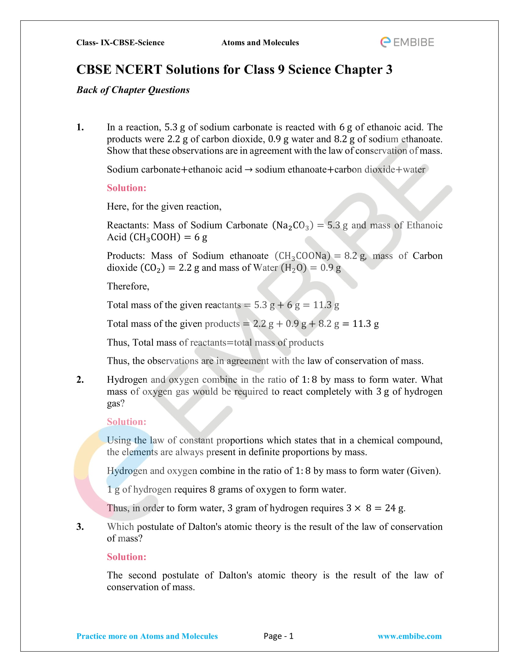 Cbse Ncert Solutions For Class 9 Science Chapter 3 Atoms