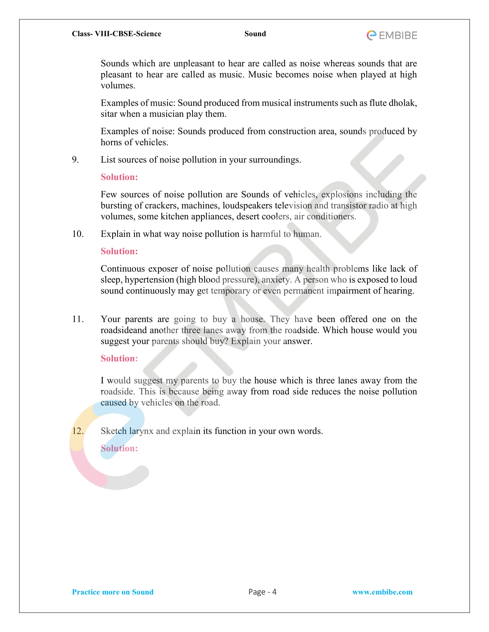 Ncert Solutions For Class 8 Science Chapter 13 Sound