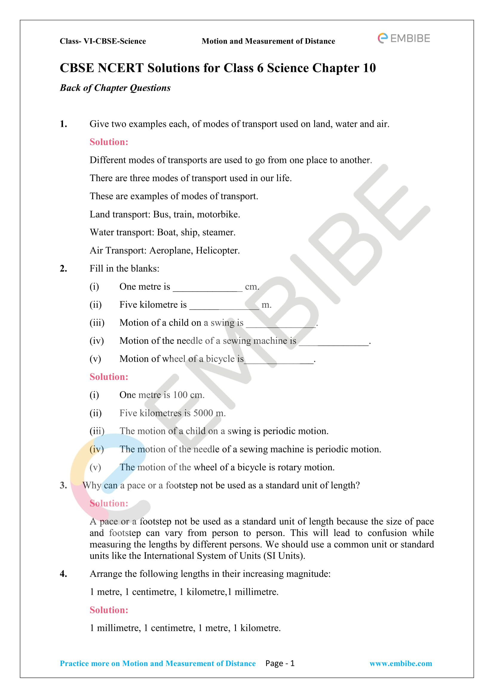 Ncert Solutions For Class 6 Science Chapter 10