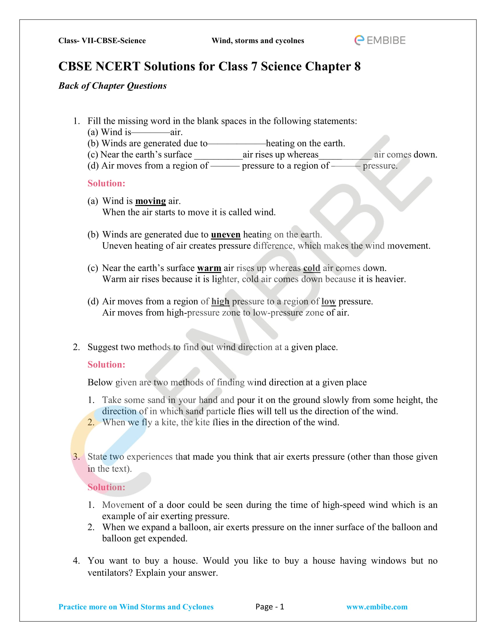 Ncert Solutions For Class 7 Science Chapter 8 Winds