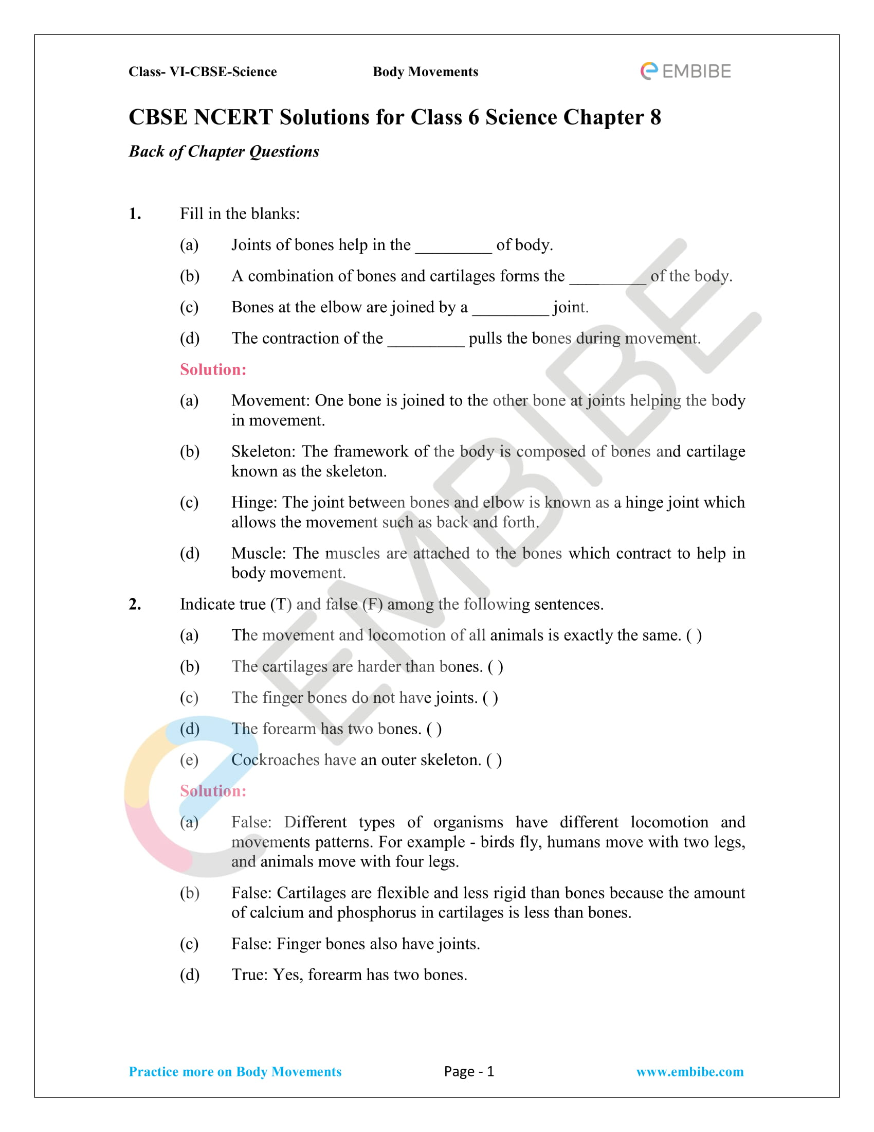 Ncert Solutions For Class 6 Science Chapter 8 Body