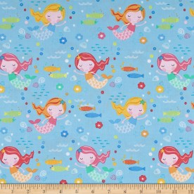 Timeless Treasures ABC's Under The Sea Mermaids Sky Fabric