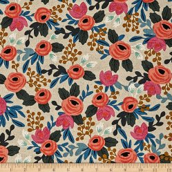 Cotton + Steel Rifle Paper Co. Les Fleurs Canvas Rosa Floral Natural Fabric
