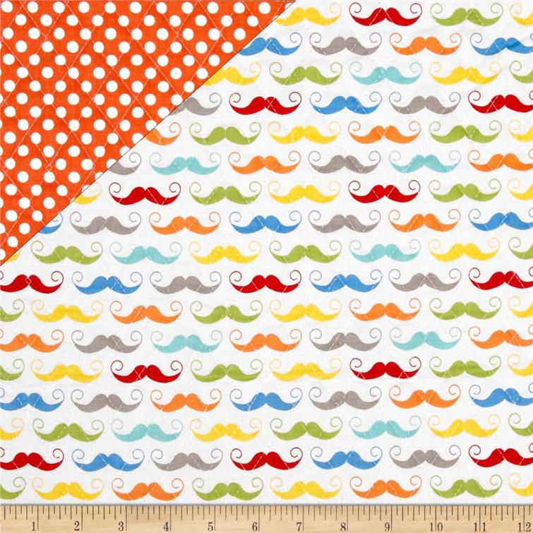 Riley Blake Double Sided Quilted Mustache White
