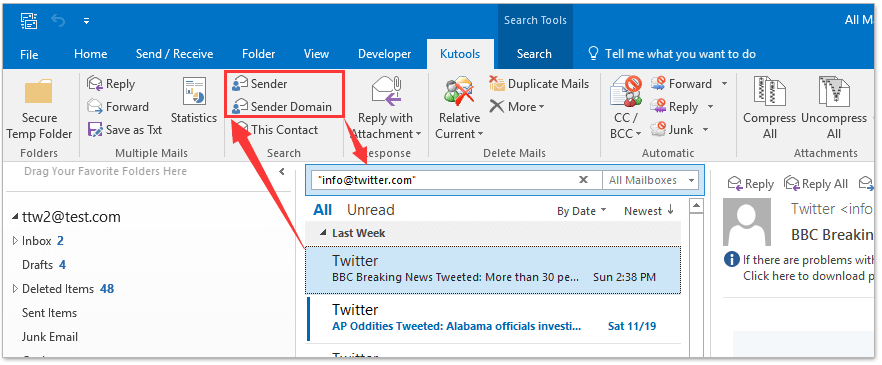 How To Search External Emails (not From Internal Domain