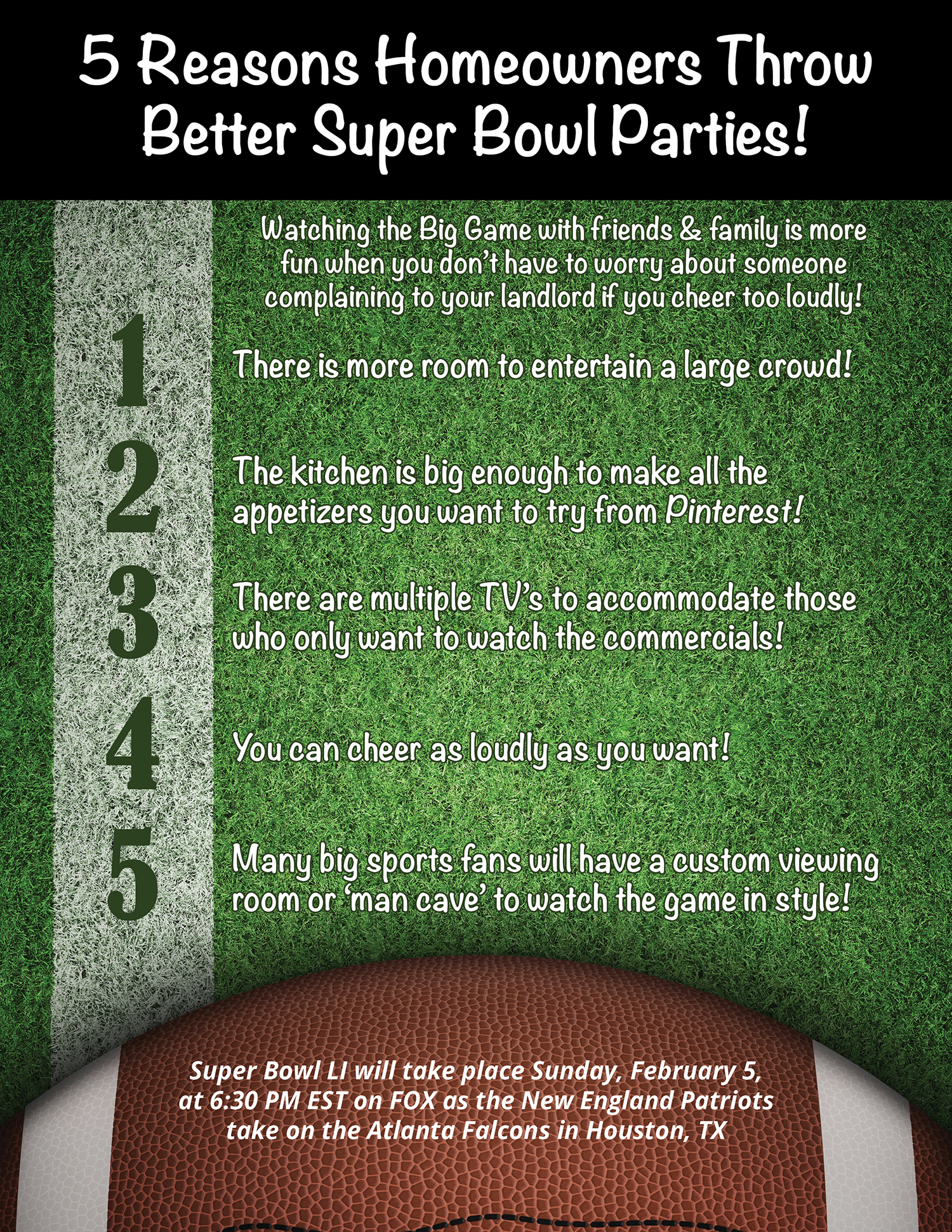 5 Reasons Homeowners Throw Better Super Bowl Parties! [INFOGRAPHIC] | Simplifying The Market