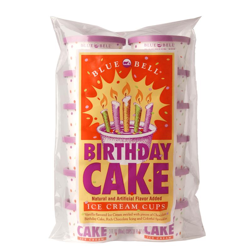 Blue Bell Birthday Cake Ice Cream Cups 12 Ct Instacart