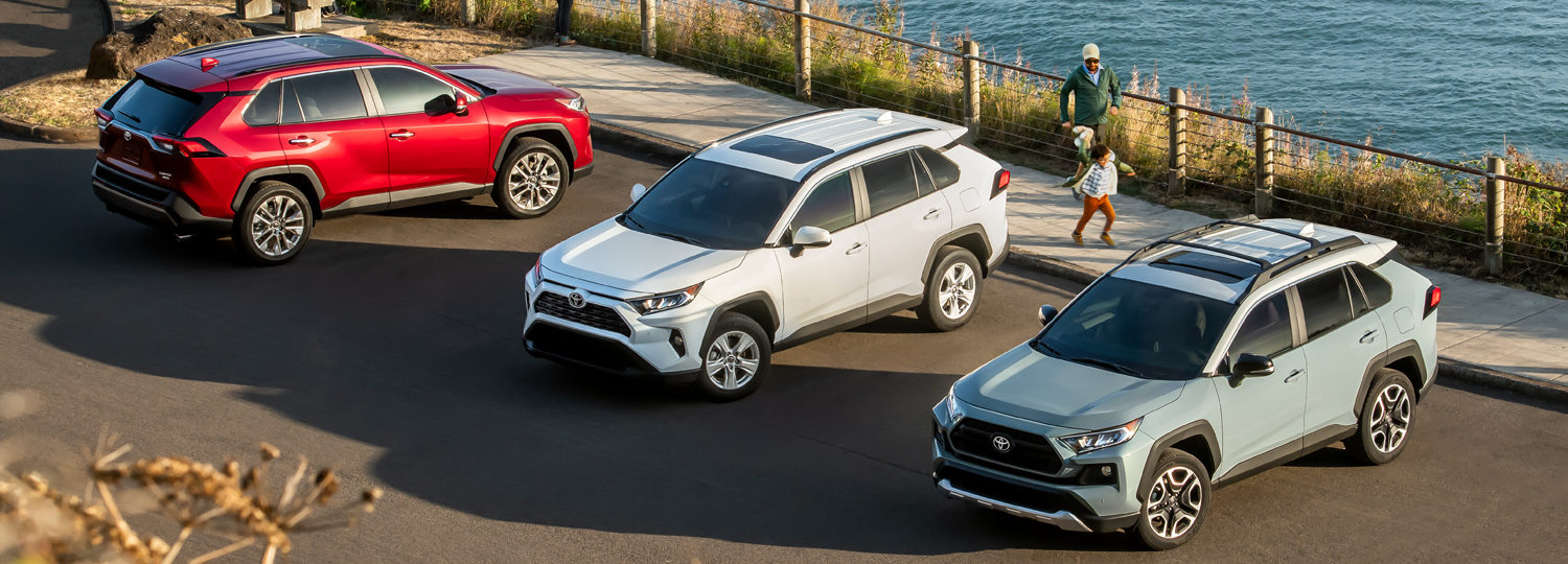Toyota RAV4 lineup by the water