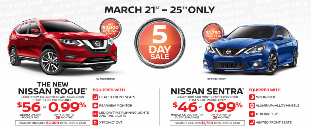 Nissan 5 Day Sale – Rogue and Sentra