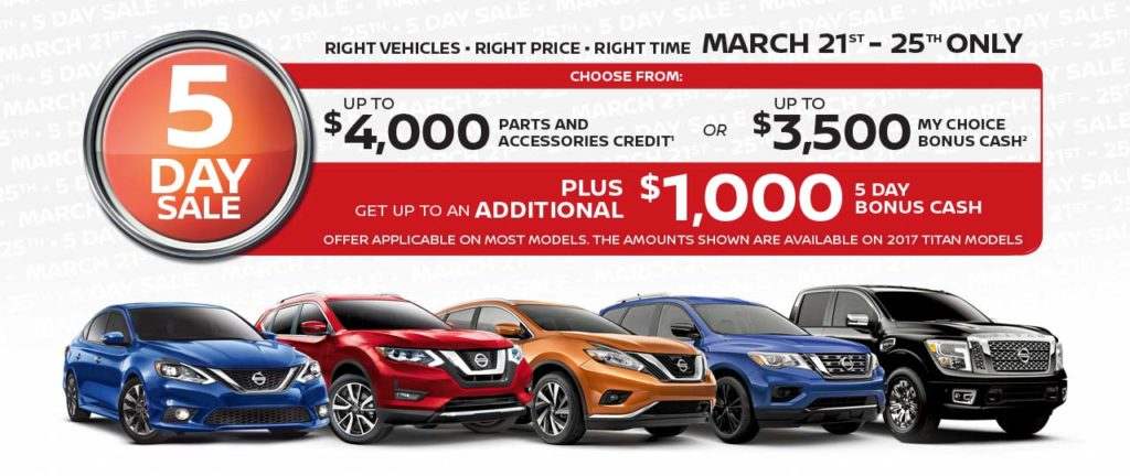 Nissan 5 Day Sale at Sun Valley Nissan in Cranbrook