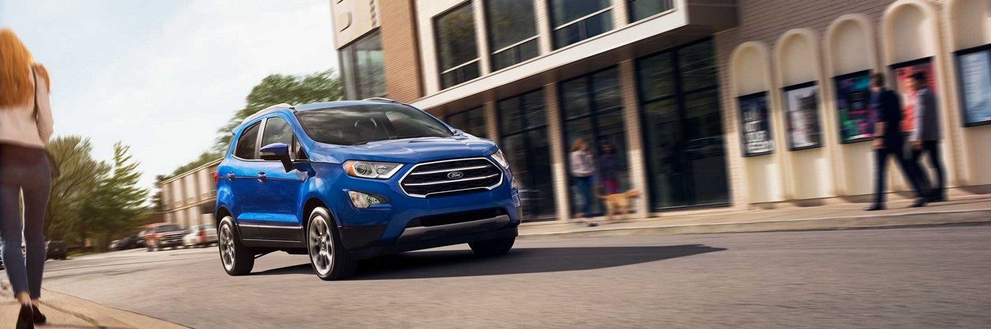 A blue 2019 Ford EcoSport zipping around on its daily commute