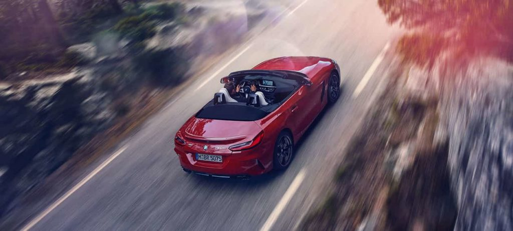 Bird's eye view of the BMW Z4 Roadster on the move