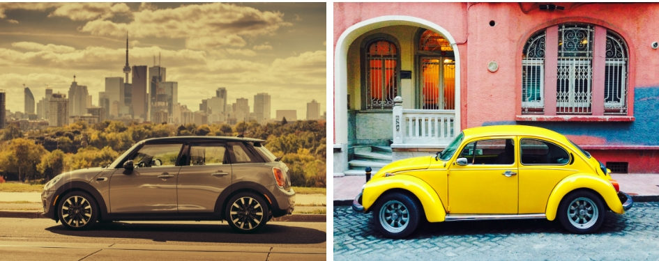 A picture of the MINI Cooper beside a picture of a yellow Volkswagen Beetle