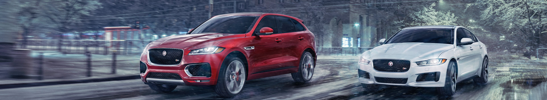 Jaguar XE and F-PACE in city
