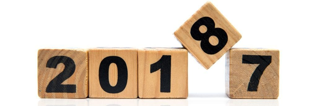 New Year 2018 and Old 2017 with wood block isolated
