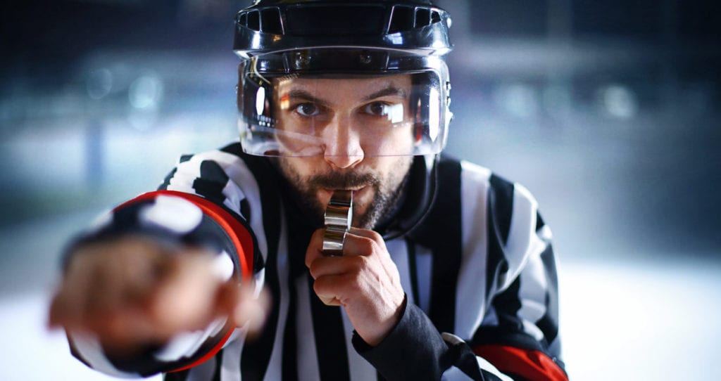 ice hockey ref makes call