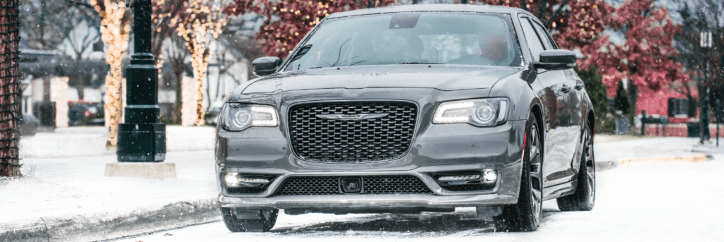 Chrysler 300 parked in the snow