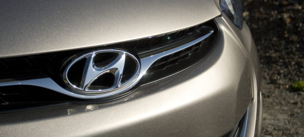 closeup of hyundai emblem on an elantra