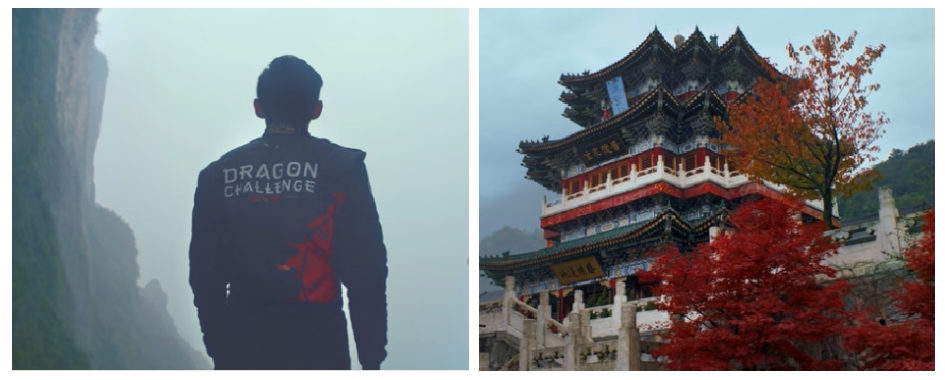 An image of the back of Ho-Pin Tung looking at Heaven's Gate and a picture of a Chinese building