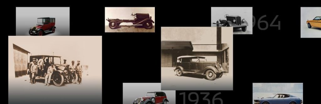 Various pictures of historical Mitsubishi vehicles on a black background