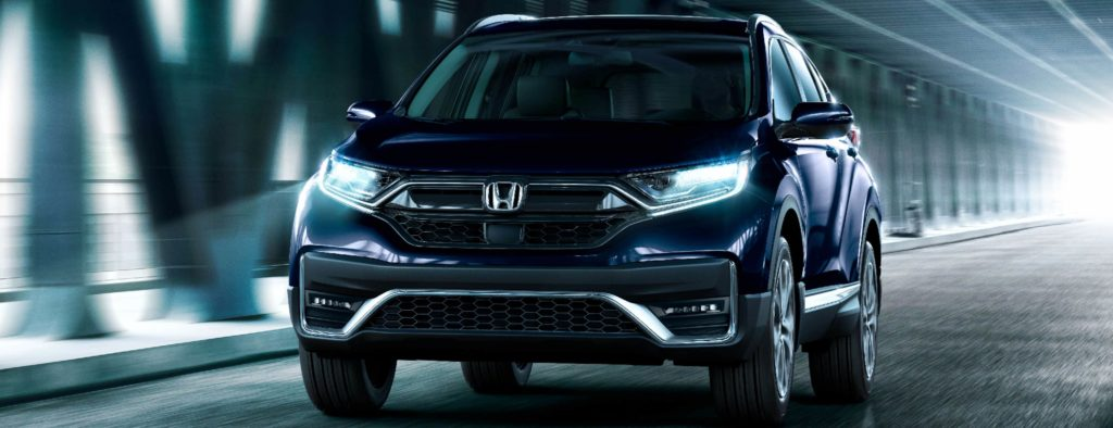 Front of 2020 Honda CR-V in a bridge tunnel