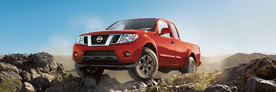 Nissan Frontier on a rocky cliff