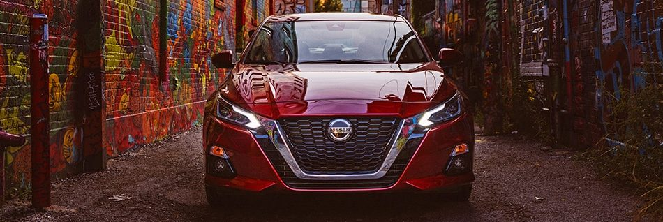 Front profile of the Nissan Altima in an alley